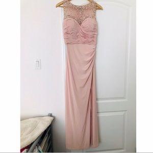 Blush pink Prom Dress w/crystals & Leg slit